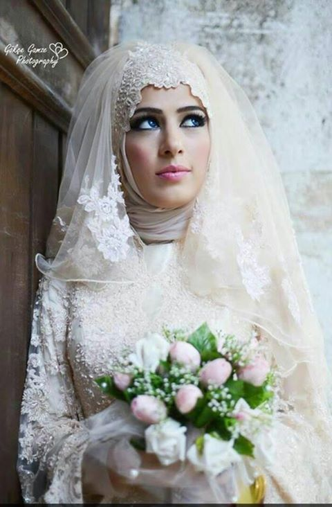 Hijabi bridal #MuslimWedding, www.PerfectMuslimWedding.com