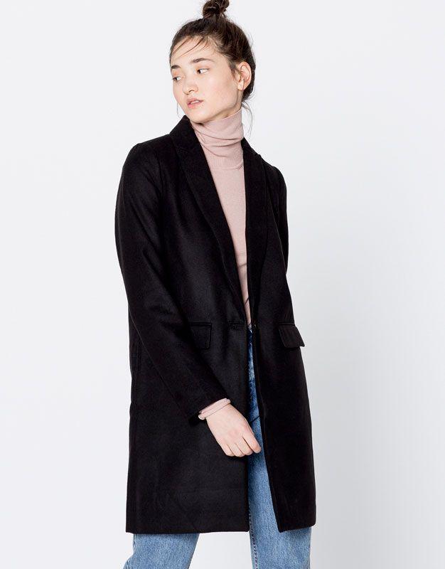Masculine cut cloth coat - Coats & Parkas - Clothing - Woman - PULL&BEAR United Kingdom