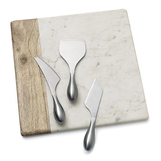 Wood-Marble Square Platter in Serving Platters | Crate and Barrel (pictured with hard cheese knife, soft cheese knife, wedge cheese knife)