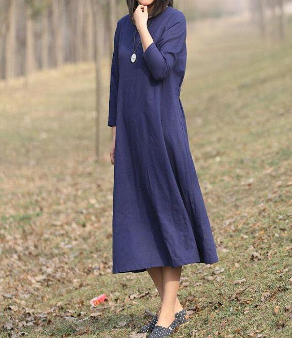 Cotton and linen dark blue long dress women large size от MaLieb