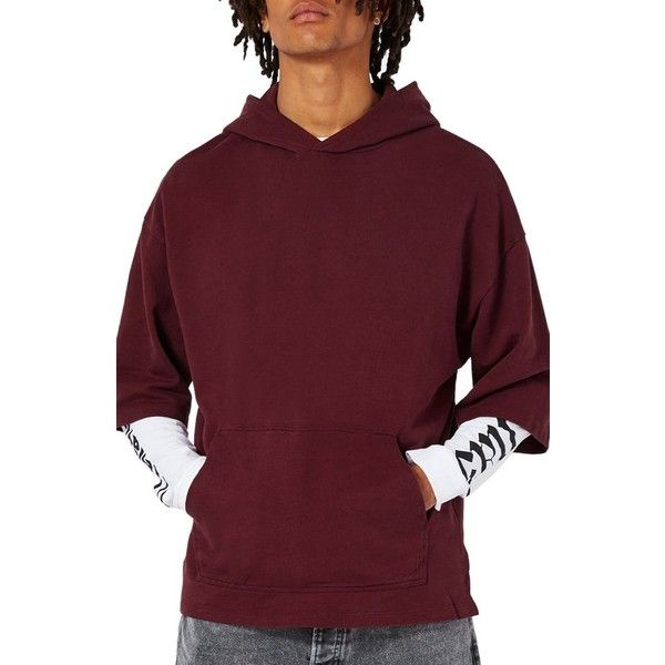 Men's Topman Oversize Short Sleeve Hoodie ($45) ❤ liked on Polyvore featuring men's fashion, men's clothing, men's hoodies, burgundy, mens burgundy hoodie, mens hooded sweatshirts, mens oversized hoodie, mens hoodie and mens knit hoodie