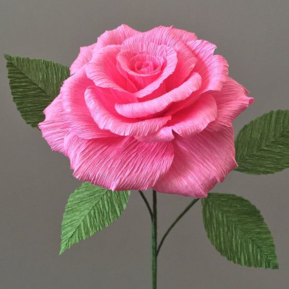 Crepe Paper Tea Rose Single Stem  Wedding Flowers  by NectarHollow