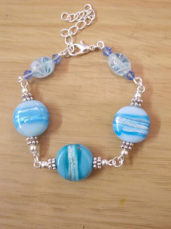 Blue Lampwork - Jewelry creation by Sarah Lane