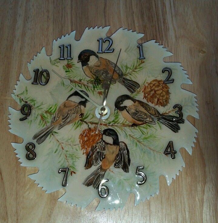saw blade clock. handmade saw blade clock circular with robins birds c