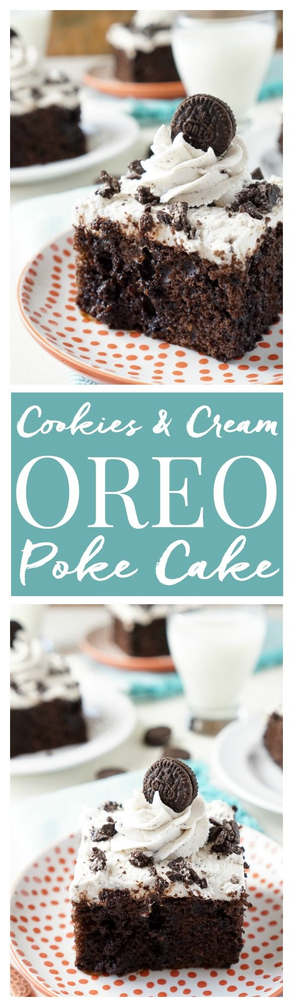 This Easy Oreo Poke Cake is so simple to make! A rich chocolate cake loaded with Oreo pieces and drenched in chocolate syrup with a cookies and cream frosting!