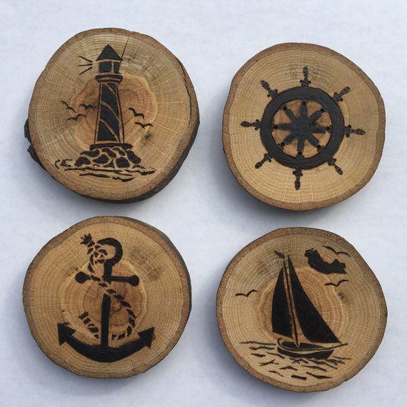 4 Woodburned Coasters von TShop21 auf Etsy