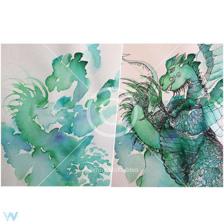 "Intuitive Art ""Watercolour Dragon"", by Jenny McFadden"