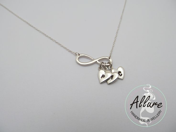 Infinity with Initial Hearts Necklace