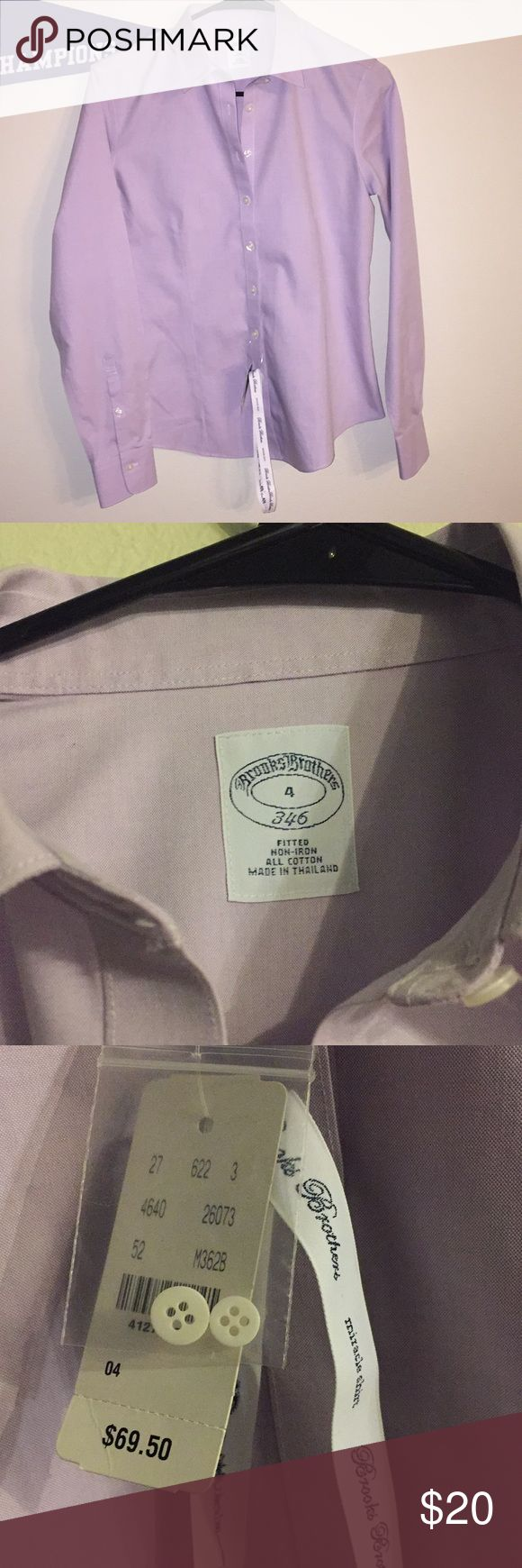 NWT Brooks Brothers Miracle Shirt in Lavender This is a never worn, NWT Brooks Brothers button-down shirt in lavender.   Darting below bust creates a fitted look. Sleeves feature two-button closure and pleats (pictured).   Very small discoloration on left side of shirt (pictured). Would probably come out with washing, but has not been attempted in order to preserve the tags.  Price firm!  Also pictured: chart for this specific Brooks Brothers fit.  Measurements are listed in this order: Size…