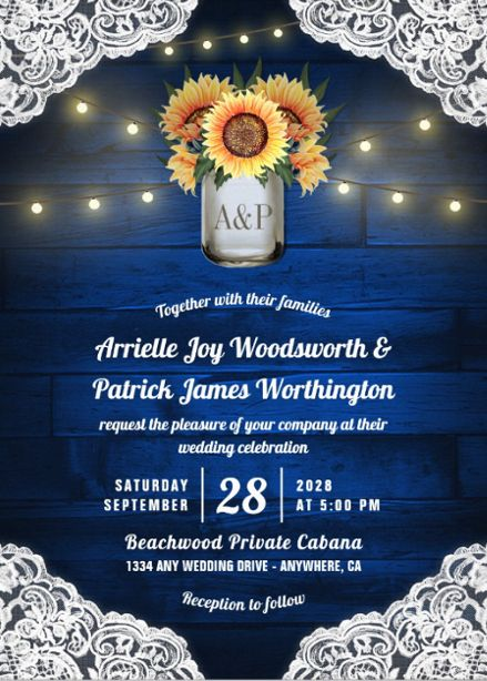 Sunflower Wedding Invitations With Rustic Lace String Lights Over A