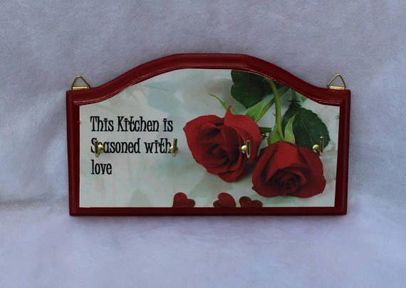 Red Roses wooden key rack  Decoupage key rack