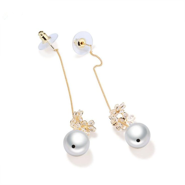 Exquisite Fashion Design Pearl Long Chain Earrings For Lady Copper Flower Dangle Earrings Womens Wedding Jewelry_BEBESAY.COM