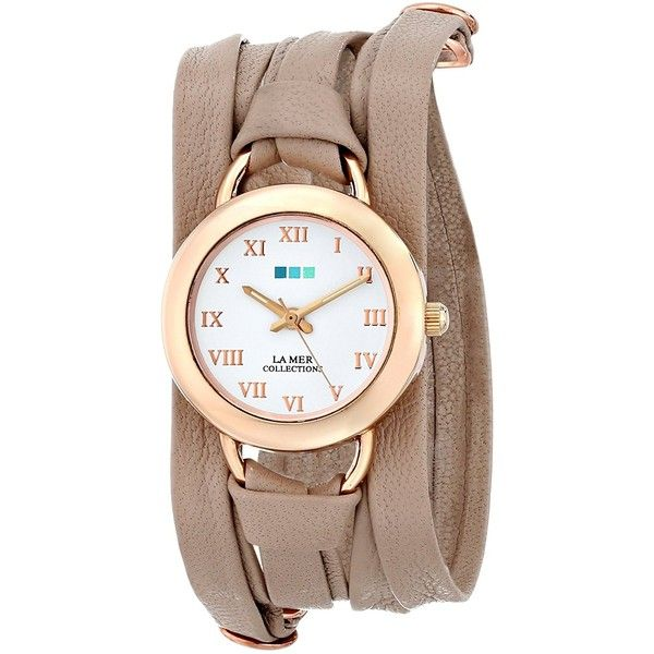 La Mer Collections Nude Rose Gold Saturn Wrap Watch ($60) ❤ liked on Polyvore featuring jewelry, watches, la mer watches, wide leather watches, leather wrap watch, leather wrist watch and 14k watches