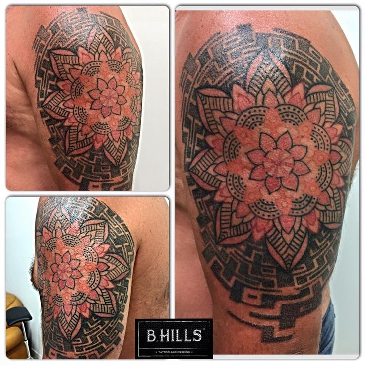 #dotworkshoulder #dotwork #tattoo #shouldertattoo #ink #art #mandala #orange #geometric #blacktattoo #labyrinth #tattoartist #ladoktopus