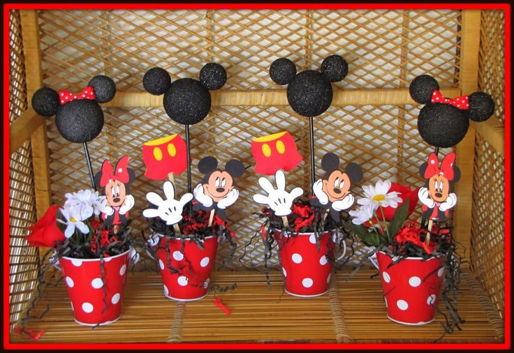 minnie and mickey party decorations photos | Mickey Mouse Birthday Decorations Set of 4 by RaeofSunshinedesign