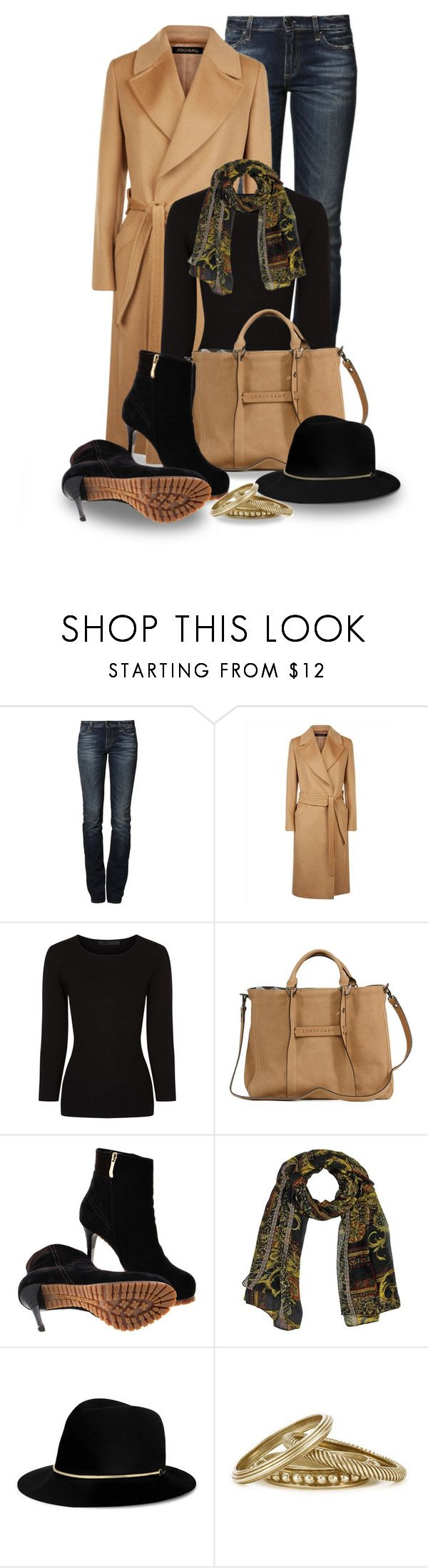 """""""Camel Wool Wrap Coat"""" by snickersmother ❤ liked on Polyvore featuring True Religion, Jaeger, Alexander Wang, Longchamp, Gianmarco Lorenzi, Janessa Leone and Tory Burch"""