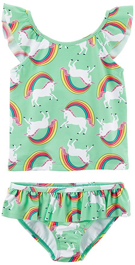 06c34dac40 Can unicorns swim? Carter's Girls' Toddler Two Piece Swimsuit, Unicorn  Rainbow, 5T