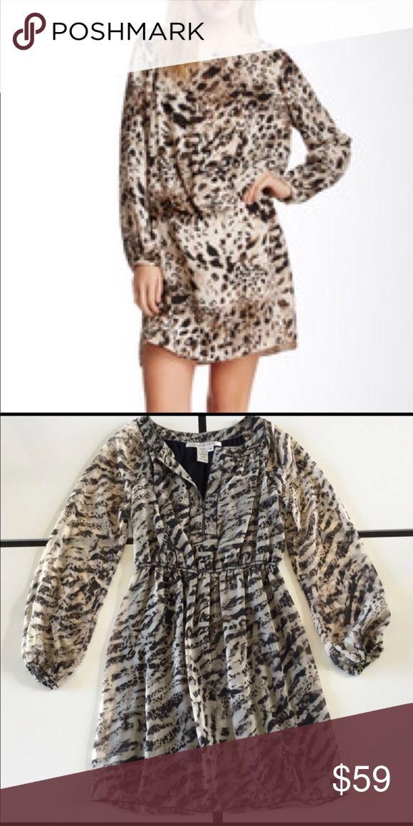 Leopard Long Sleeves Mini Dress Max Studio  Animal-Print Long-Sleeve Dress. Surplice neckline, Super cute and comfy sheer sleeves. Size:Medium Max Studio  Animal-Print Long-Sleeve Dress. Surplice neckline, Super cute and comfy sheer sleeves. Size:Medium Max Studio Dresses Mini