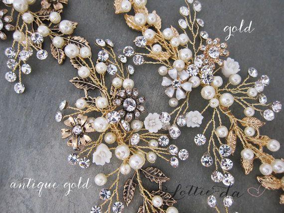 Antique Gold Boho Hair Halo Bridal Pearl Flower by LottieDaDesigns