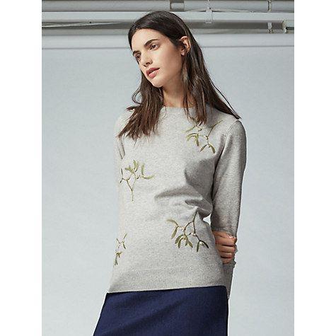 Buy Warehouse Mistletoe Christmas Jumper, Light Grey Online at johnlewis.com