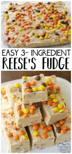 Simple & easy 3 ingredient Reese's Fudge recipe that's made in minutes! Smooth, creamy texture & peanut butter flavor throughout this tasty treat. Easy #fudge homemade #candy #recipe from Butter With A Side of Bread via @ButterGirls