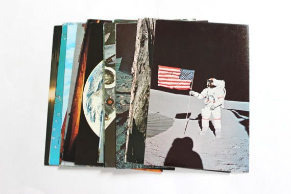38  Vintage NASA, Space and Kennedy Space Center Florida Chrome Unused Blank Postcards Set - Unique Wedding Guestbook, Reception Decor