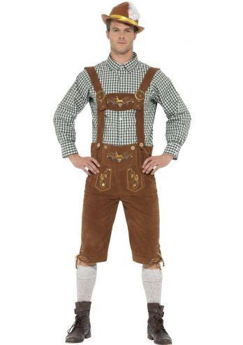 Een bruin Lederhosen Kostuum voor heren. Het is een tweedelige set met een groen wit geblokt shirt en de lederhosen met daaraan de bretels. Leuk om in stijl aan te schuiven tijdens een bierfeest als oktoberfest of voor carnaval. De broek is afgewerkt met echte knopen en de stof is van bruin suede.