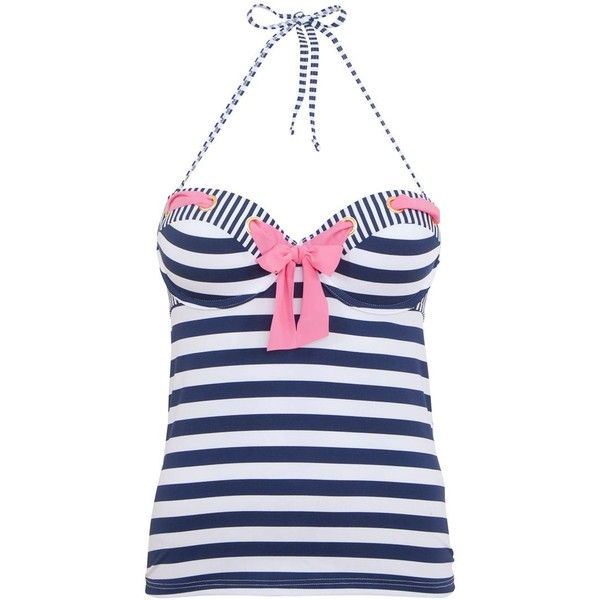 Kelly Brook Navy and White Stripe Bow Tankini Top ($14) ❤ liked on Polyvore featuring tops and swim