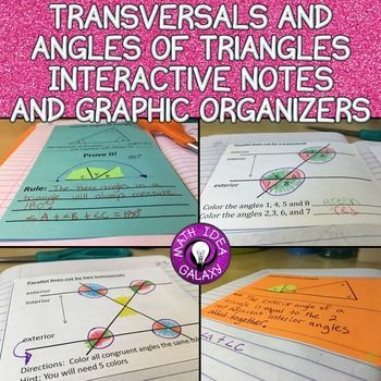 This collection of interactive notes and graphic organizers is jam packed with scaffolded ideas to help students understand and remember concepts related to transversals and angles in a triangles.  Great introduction to a lesson. These are to be used with an interactive notebook, sheet protectors, and as quick formative assessments.