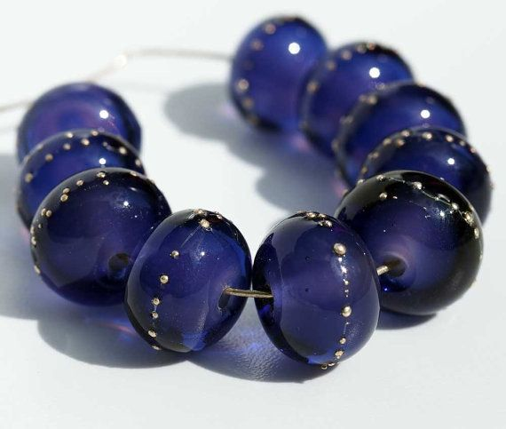 lampwork bead set handmade purple spacer beads by judithbeads
