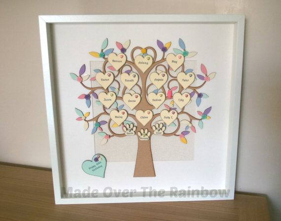 Handmade Personalised Extra large Family Tree Frame - The box frame encases a beautiful wooden tree with wooden hearts placed throughout,