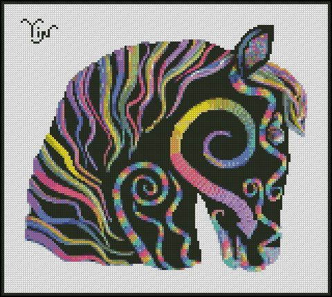"""""""YIN HORSE"""" - Needle Point, Cross Stitch and Cross Stitch Hand Paint Chart Patterns.  Original Artist: Ann Krugler from Mystic Dreamer Art PARTIAL PROCEEDS DONATED TO: WORLD LAND TRUST - US FOR RAIN FOREST PRESERVATION"""