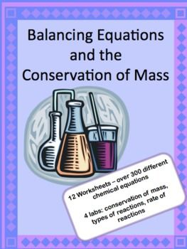 """This pdf packet contains 11 separate worksheets/quizzes and 4 labs. The worksheets range from a """"first day"""" worksheet to advanced/honors work.   Over 300 unique equations in all, plus questions that support students in understanding the concept of balancing equations and why it's important.  All answer keys included."""