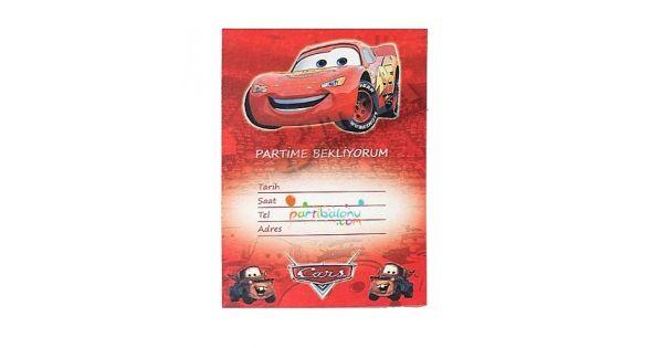 Cars DavetiyeŞimşek Mekkuin Davetiye Ürün ÖzellikleriÜrün Paketinde 10 Adet Cars Davetiye bulunur.Karton Cars Davetiyeler Kaliteli baskı ve canlı çizimdir.Cars temalı davetiyelerin boyutu9,5 cm ve 14,5 cm'dir.Şimşek Mcqueen davetiyeleri zarfsız gönderilir.Çocuklarınızın doğum günü partilerine