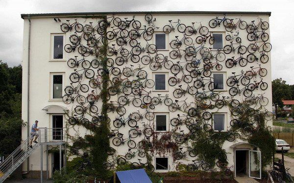 120 Bikes Displayed on Wacky Shop Facade in Altlandsberg, Germany