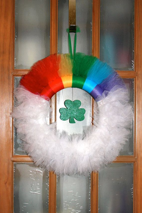 """Rainbow and Cloud """"St. Patrick's Day""""  Tulle Wreath with Shamrock Embellishment on Etsy, $30.00"""