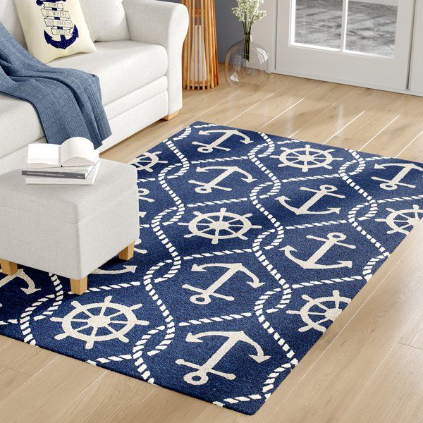 Bring A Little Bit Of The Open Sea Indoors With This Whimsical Rug Featuring Nautical Motifs This Rug Wi Area Rugs Indoor Outdoor Area Rugs Outdoor Area Rugs