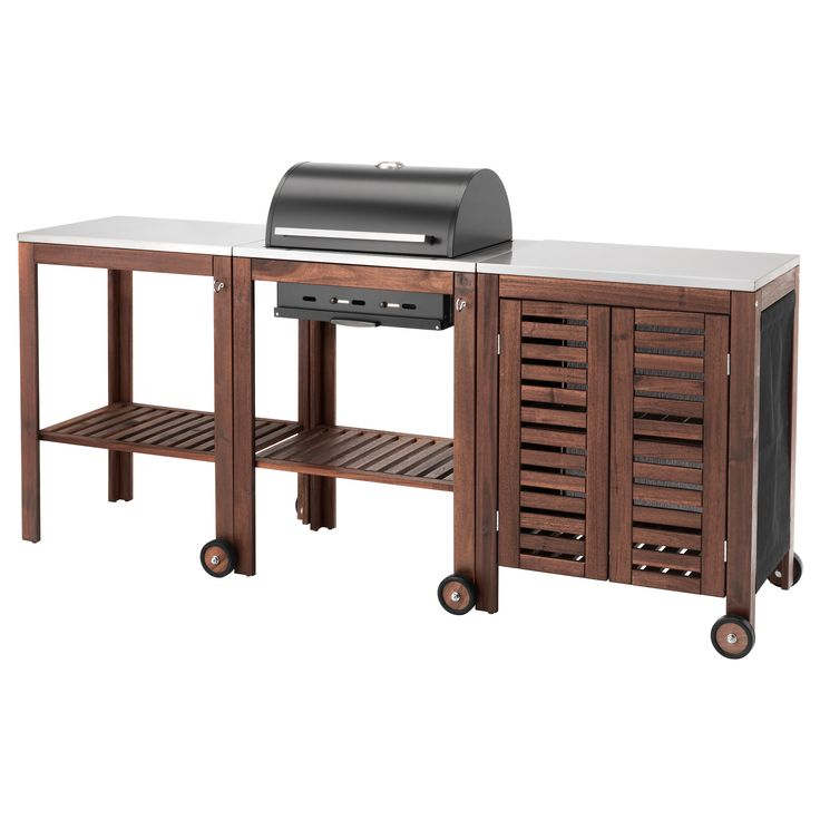 IKEA - ÄPPLARÖ / KLASEN, Charcoal grill with cart & cabinet, brown stained/stainless steel color, , With ÄPPLARÖ/KLASEN charcoal grill, cart and storage cabinet you get a cooking area combined with a practical area to put both serving plates and grill accessories.The stainless steel shelf has a durable surface that's easy to keep clean.The built-in thermometer on the hood helps you check the temperature during grilling – without having to lift the hood.To get the desired grill temperature…