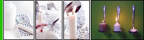 Praticate un foro sull'estremità del manico della posata utilizzando un trapano. Successivamente ripiegate il cucchiaio in modo da fargli formare un angolo retto. Fissate poi le posate all'asta di legno utilizzando delle viti. Non vi resta che appendere il legno al muro.  Per questo potete utilizzare due ganci da muro fissati con relativi tasselli. Una volta che il vostro candelabro è fissato al muro potete appoggiarci sopra i lumini.