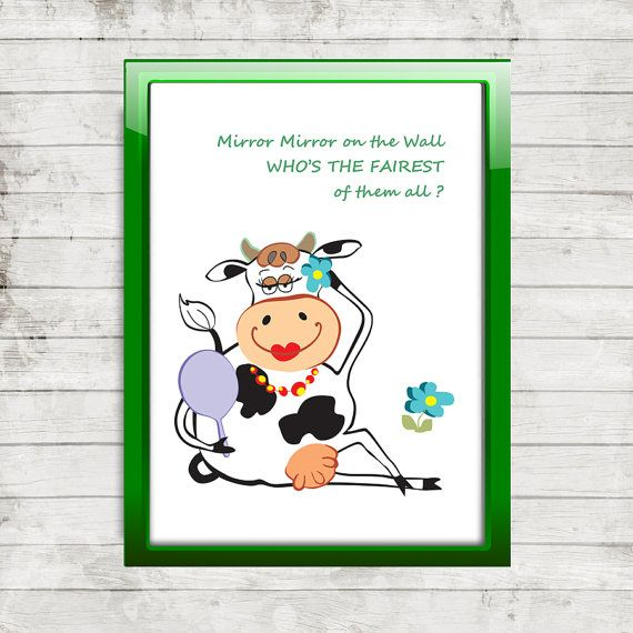 Printable picture  Cow and Mirror  Downloadable PDF by sylaprint