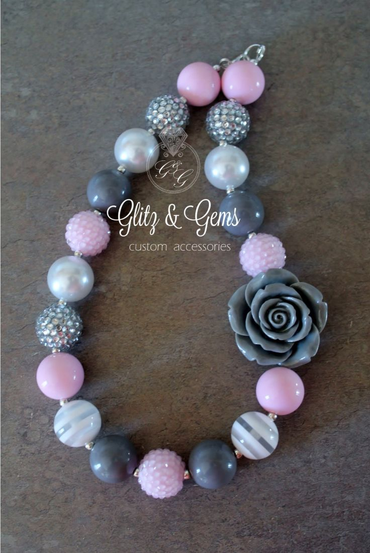 Chunky Bead Bubble Gum Necklace grey white pink flower rhinestone www.facebook.com/GlitzGems