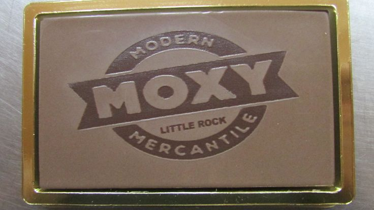 Engraved gourmet milk chocolate.