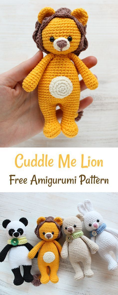This Cuddle Me Lion awakens baby's energy and strengthens child's self-confidence. The amiable crochet lion is just 16 cm tall. His cute mane locks and fuzzy tail are perfect for developing baby's motor skills.