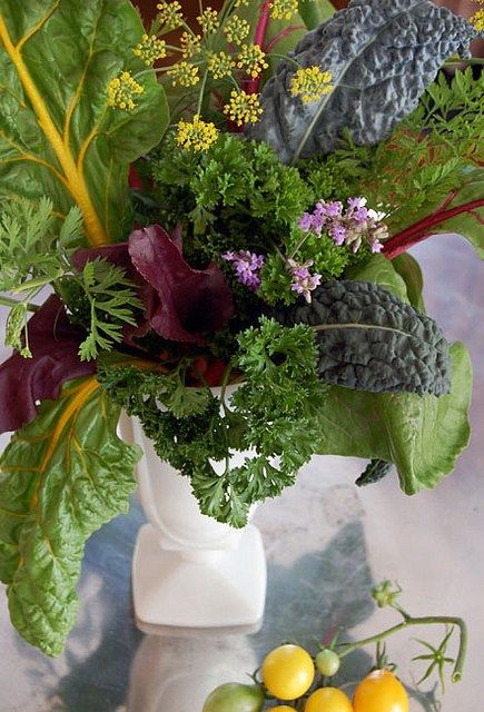 Vegetable Flower Arrangement with chard, beet greens and more.