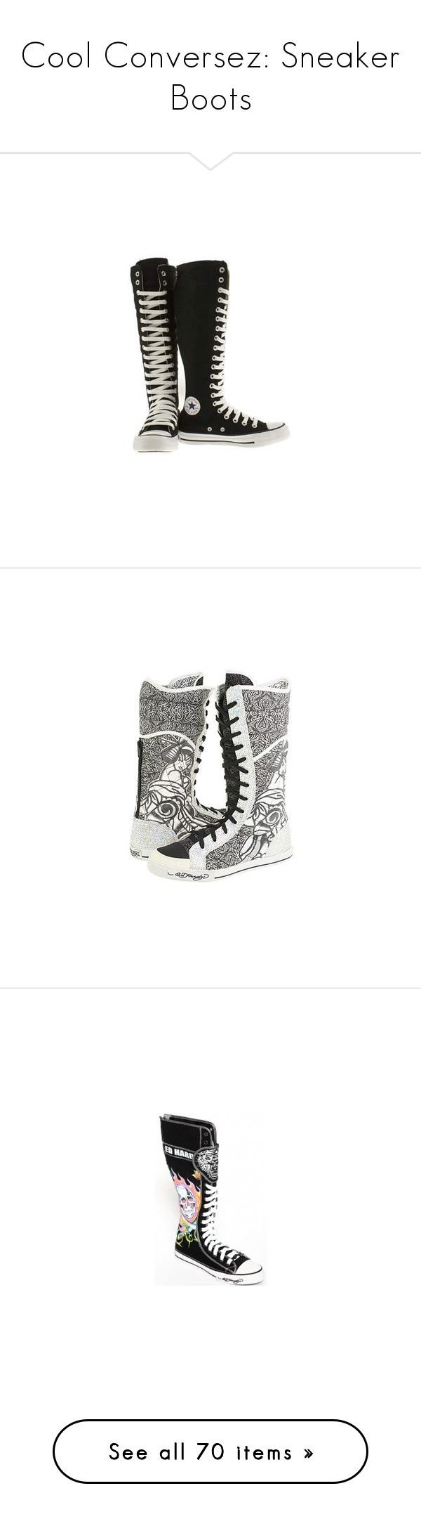 """Cool Conversez: Sneaker Boots"" by maria-iilov3yuhhii-noor ❤ liked on Polyvore featuring shoes, sneakers, converse, boots, zapatos, black and white sneakers, converse sneakers, black white shoes, white and black sneakers and black and white shoes"