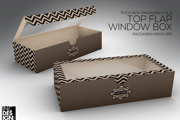 Top Flap Window Box Packaging MockUp by INC Design on @creativemarket
