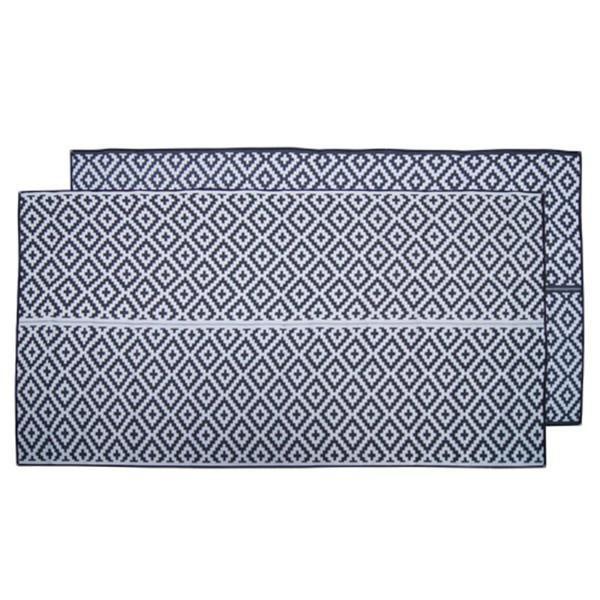 Recycled Outdoor Mat - DIAMOND Recycled Mat, Black & Grey 2.4 x 4m