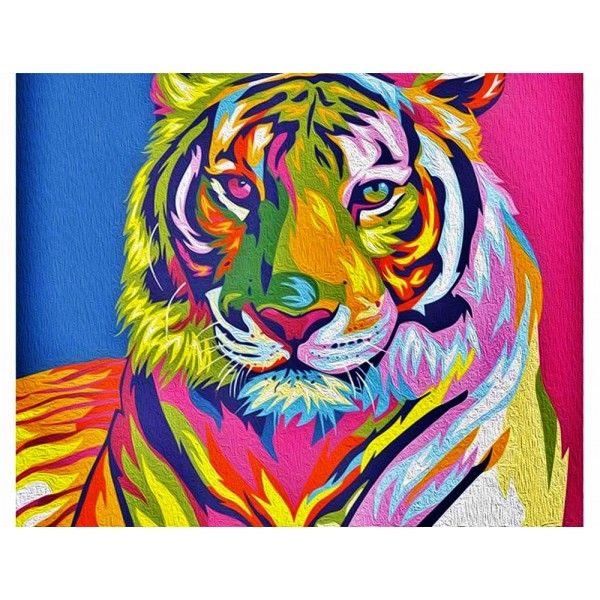 Раскраска по номерам Артвентура «Радужный тигр».( 02ART4050007 ) Купить за 1490 р. в магазине Разукрашка.