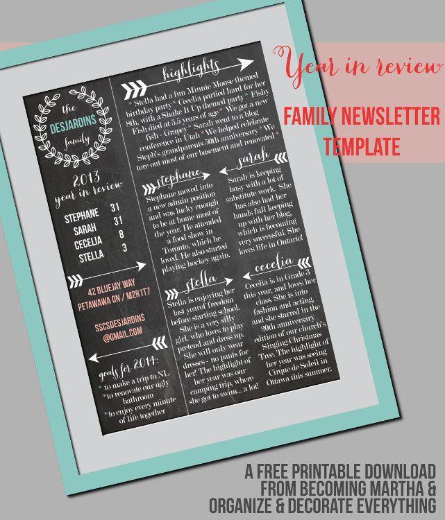 A chalkboard style Christmas newsletter.