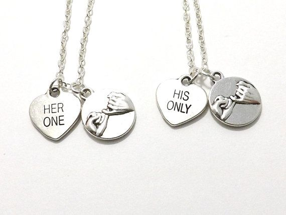 2 Her One His Only Pinky Promise Necklaces Bride Groom
